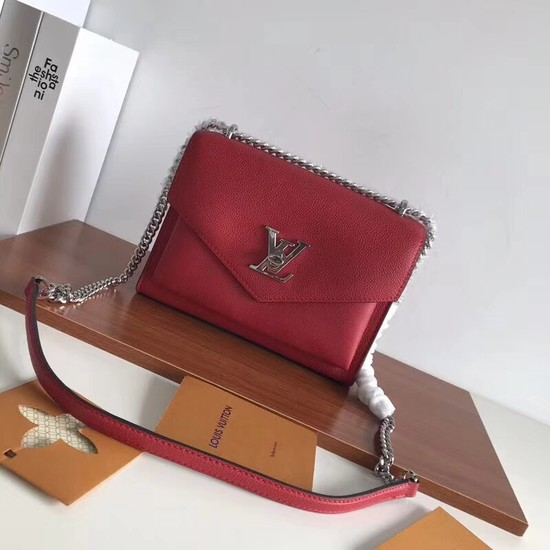 Louis vuitton Original Leather Evening Bag Clutch Love Note MYLOCKME BB M51418 red