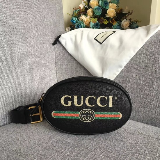 Gucci GG Calfskin Leather belt bag 476434 black