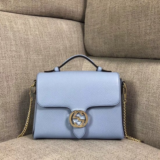Gucci GG Cowhide top quality tote bag 510302 Sky blue