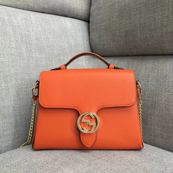 Gucci GG Cowhide top quality tote bag 510302 orange