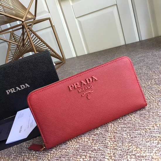 Prada Saffiano Leather Large Zippy Wallets 1MH317 red
