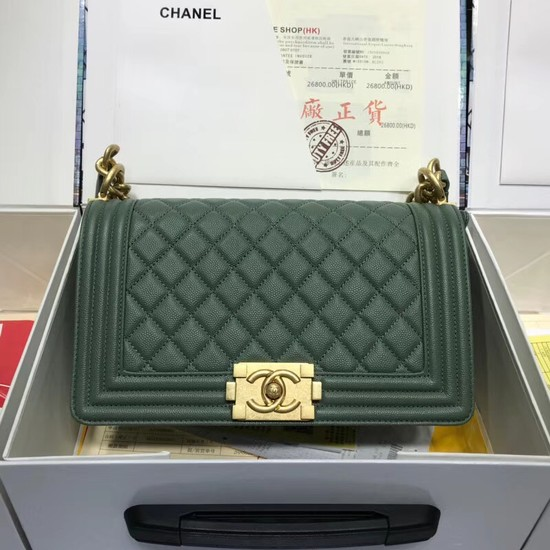 Chanel Leboy Original caviar leather Shoulder Bag A67086 green gold chain