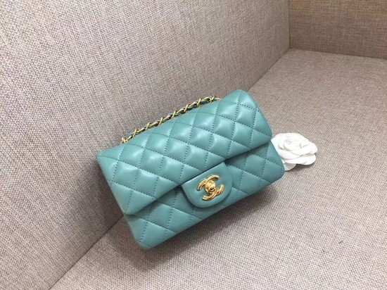 Chanel Classic MINI Flap Bag original Sheepskin Leather A1116 Light blue gold chain
