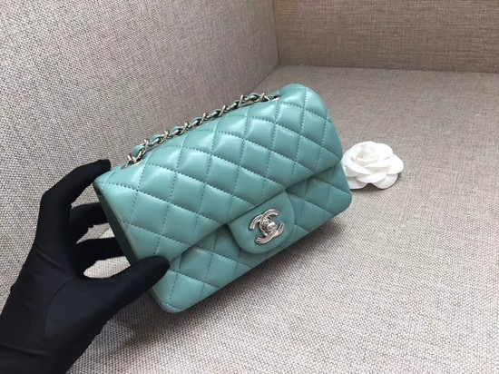 Chanel Classic MINI Flap Bag original Sheepskin Leather A1116 Light blue silver chain