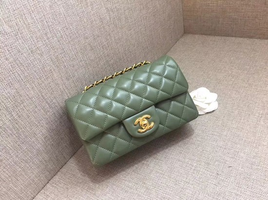 Chanel Classic MINI Flap Bag original Sheepskin Leather A1116 green gold chain