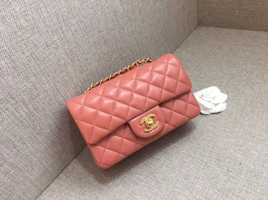 Chanel Classic MINI Flap Bag original Sheepskin Leather A1116 pink gold chain