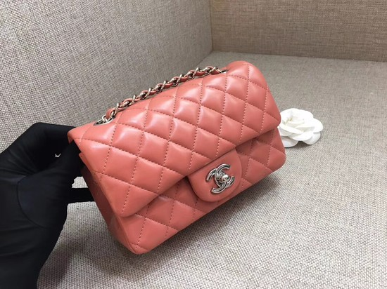 Chanel Classic MINI Flap Bag original Sheepskin Leather A1116 pink silver chain