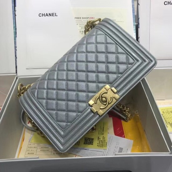 Chanel Leboy Original caviar leather Shoulder Bag A67086 silver gold chain