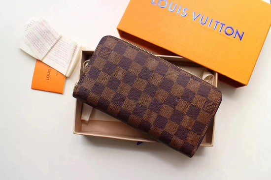 Louis Vuitton Damier Ebene Canvas Zippy Wallet 63503 pink