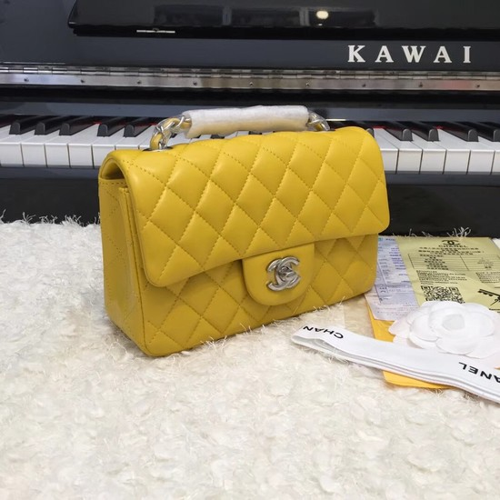 Chanel Classic original Sheepskin Leather cross-body bag A1116 yellow silver chain