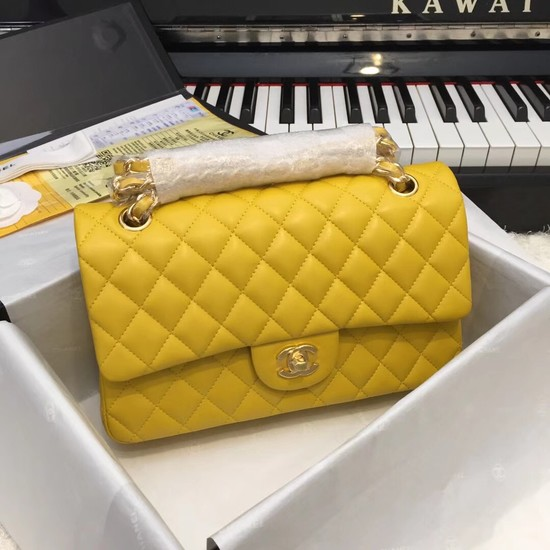 Chanel Flap Original Sheepskin Leather CF1112 Yellow gold chain