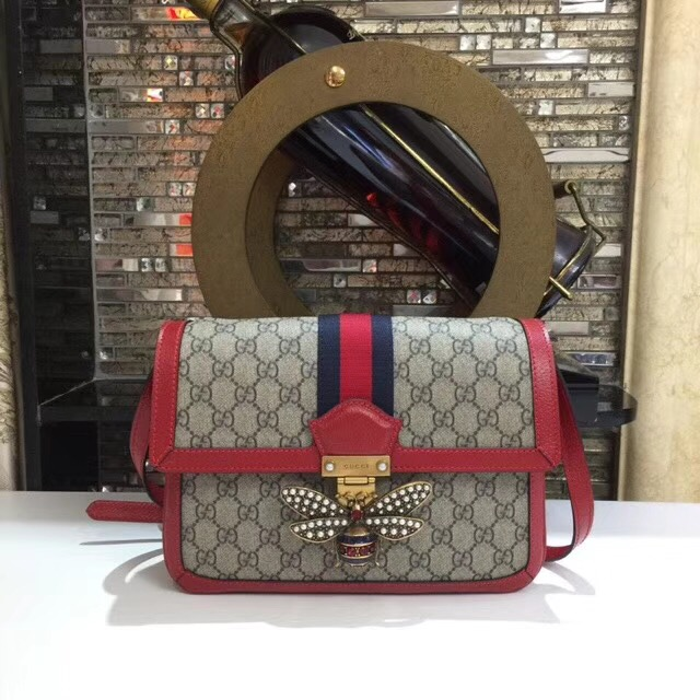 Gucci Queen Margaret GG Supreme medium shoulder bag 524356 red