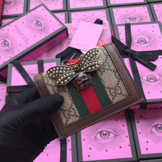 Gucci Queen Margaret GG card case 476072 brown