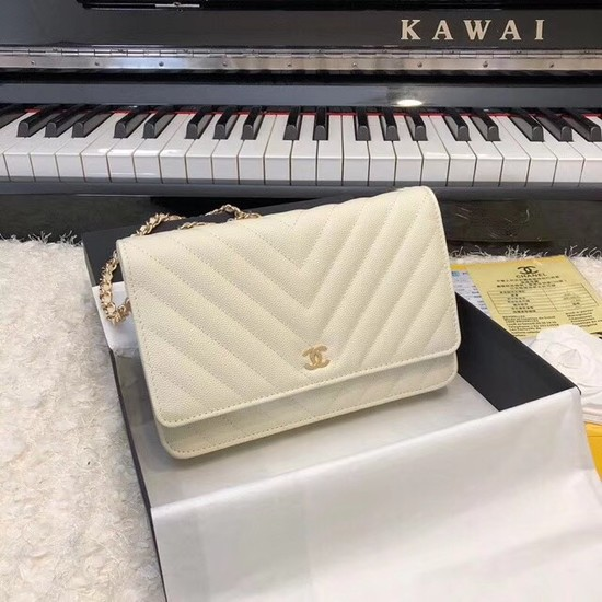 Chanel WOC Original Caviar Leather Flap cross-body bag V33814 cream gold chain
