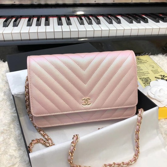 Chanel WOC Original Caviar Leather Flap cross-body bag V33814 pink Gold chain