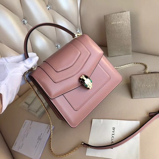 BVLGARI Serpenti Forever leather flap bag 3785 pink