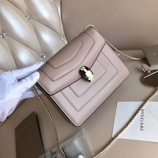 BVLGARI Serpenti Forever leather flap bag 5589 light pink