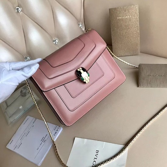 BVLGARI Serpenti Forever leather flap bag Serpenti neon 4567 pink