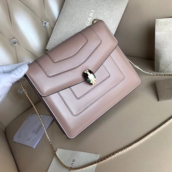 BVLGARI Serpenti Forever leather shoulder bag 3749 light pink