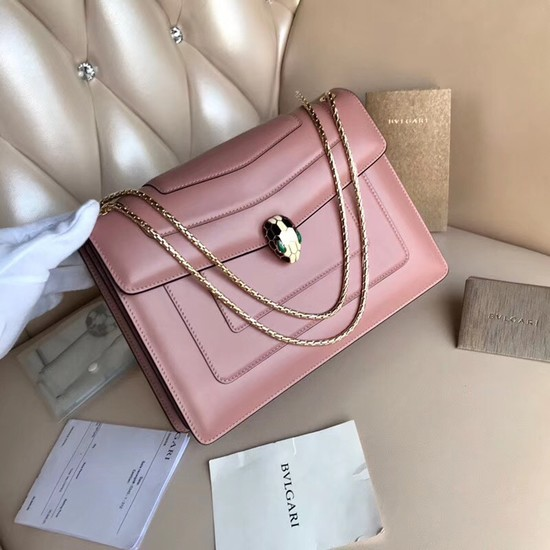 BVLGARI Serpenti Forever leather shoulder bag 3788 pink