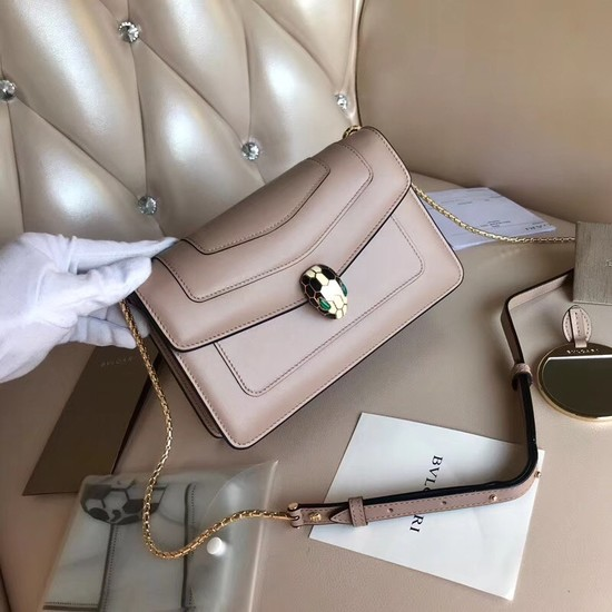 Bvlgari Original Calfskin Leather serpenti forever Shoulder Bag 5590 light pink