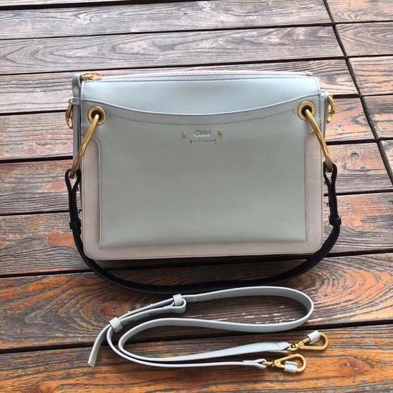 CHLOE Roy leather and suede Medium shoulder bag 20656 Light blue
