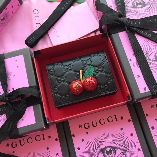 Gucci Signature card case with cherries 476050 Black
