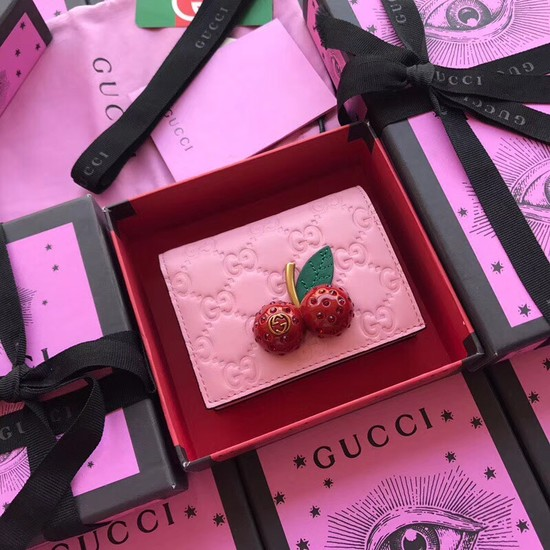 Gucci Signature card case with cherries 476050 pink