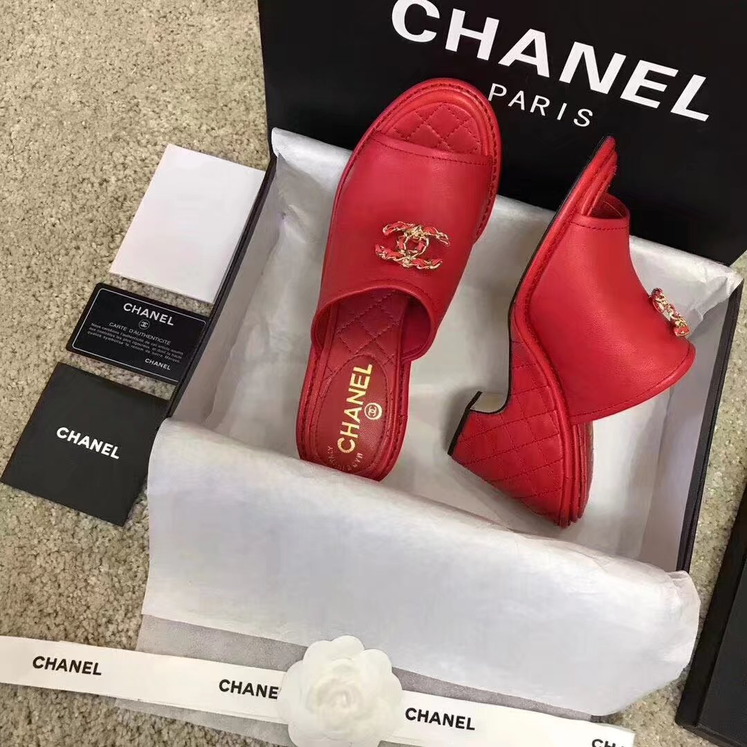 Chanel slippers CH2329LS red