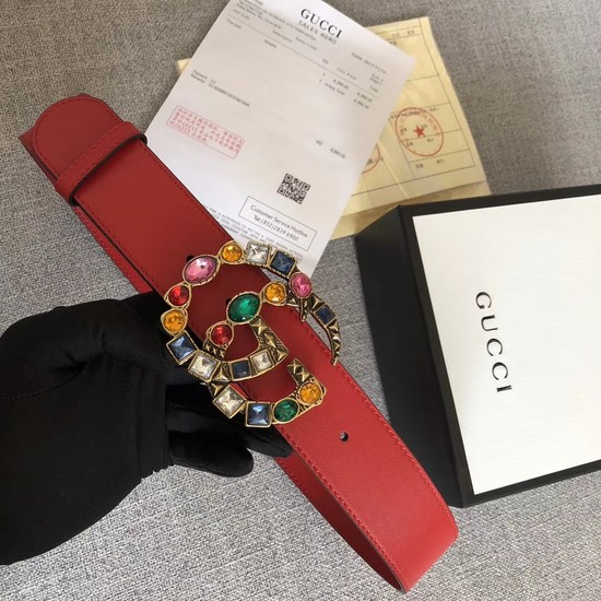 Gucci Leather belt with crystal Double G buckle 513184 red