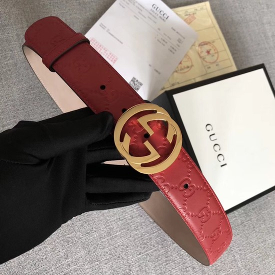 Gucci Signature leather belt 370543 red