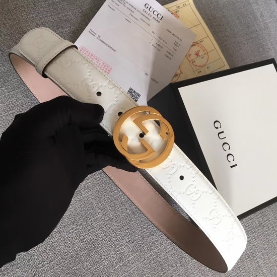 Gucci Signature leather belt 370543 white