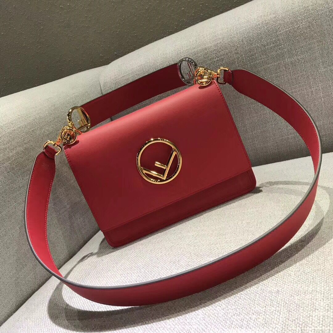 Fendi Calfskin Leather Flap Shoulder Bag 6695 red