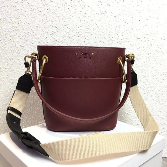 Chloe Roy Mini Smooth Leather Bucket Bag S126 Plum purple