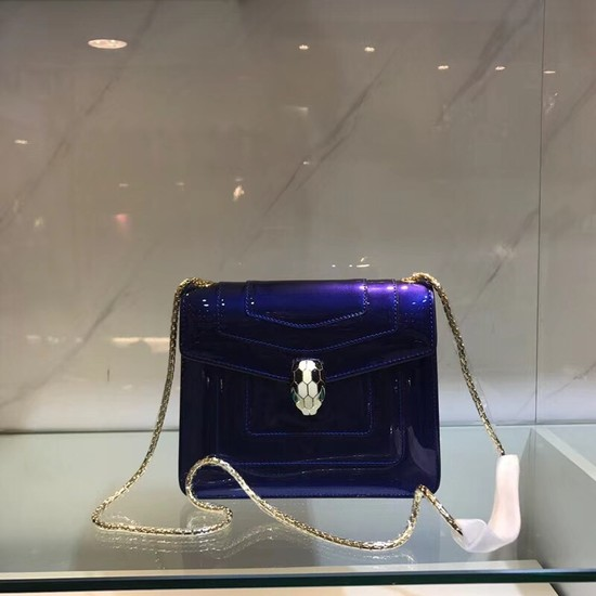 BVLGARI Serpenti Forever metallic-leather shoulder bag 08962 blue