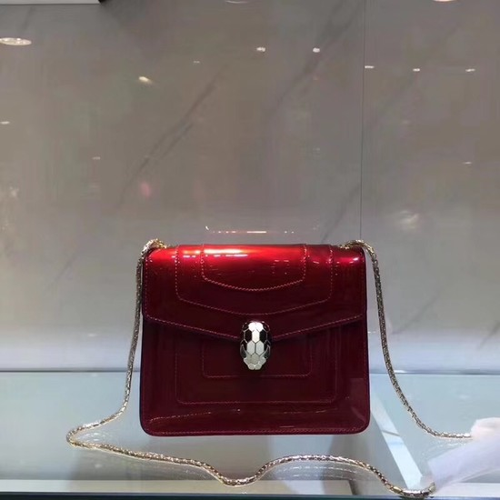 BVLGARI Serpenti Forever metallic-leather shoulder bag 08962 red
