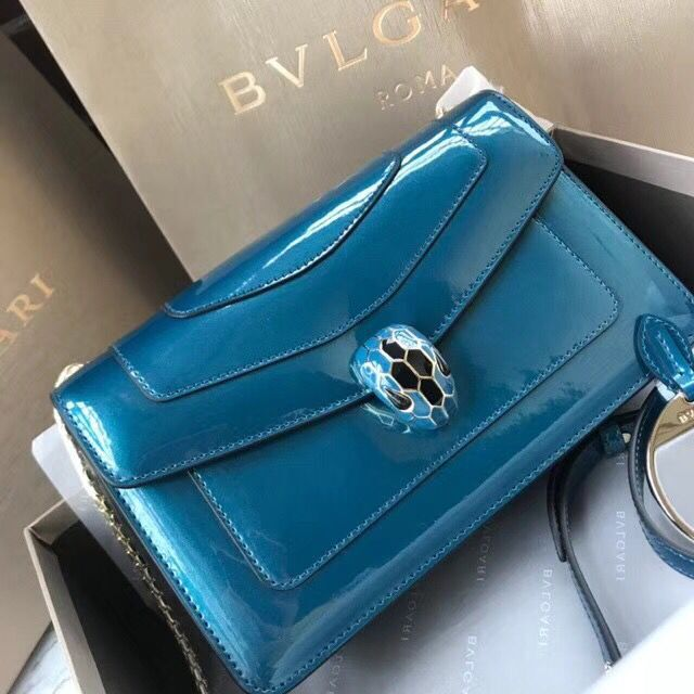 BVLGARI Serpenti Forever metallic-leather shoulder bag 4953 blue
