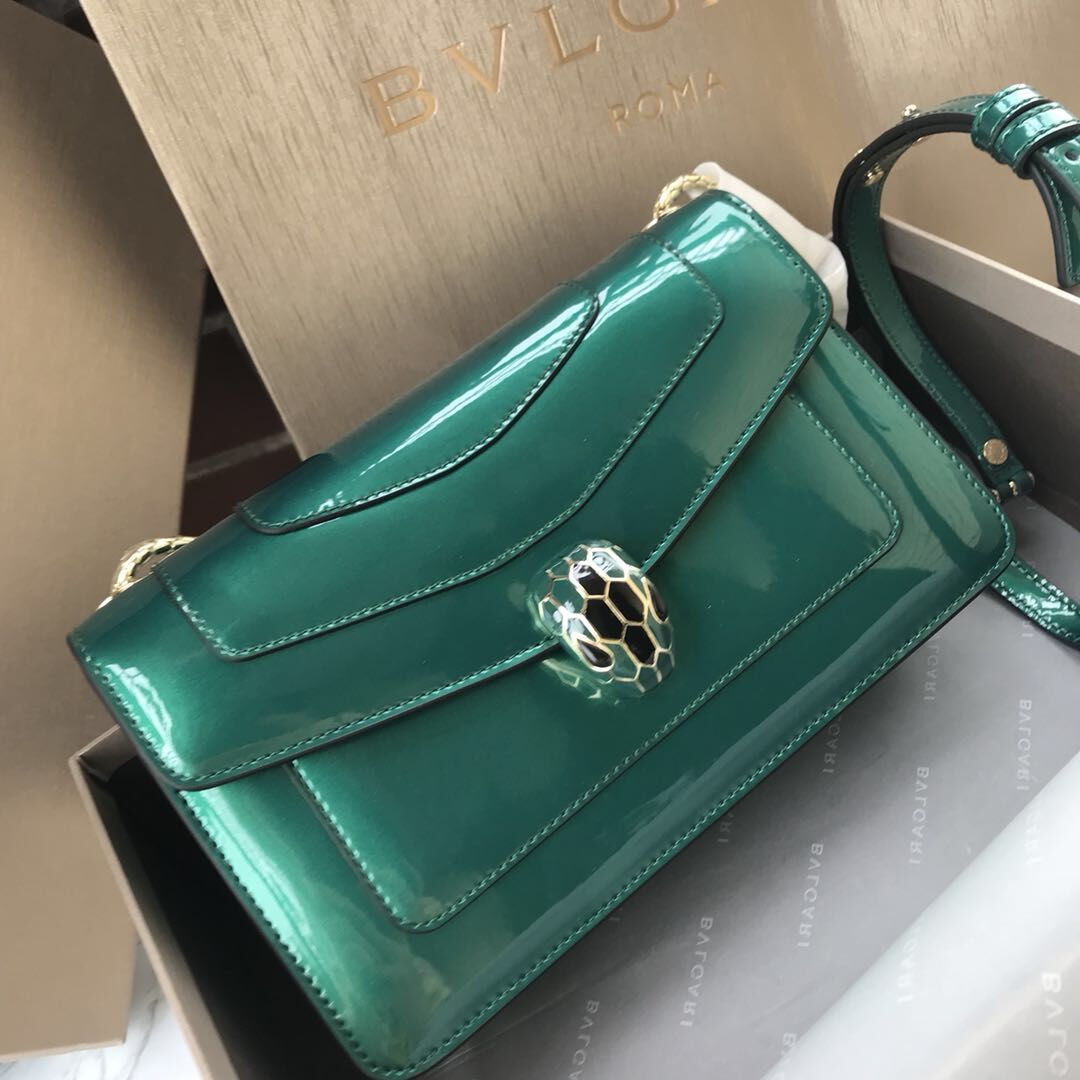 BVLGARI Serpenti Forever metallic-leather shoulder bag 4953 green