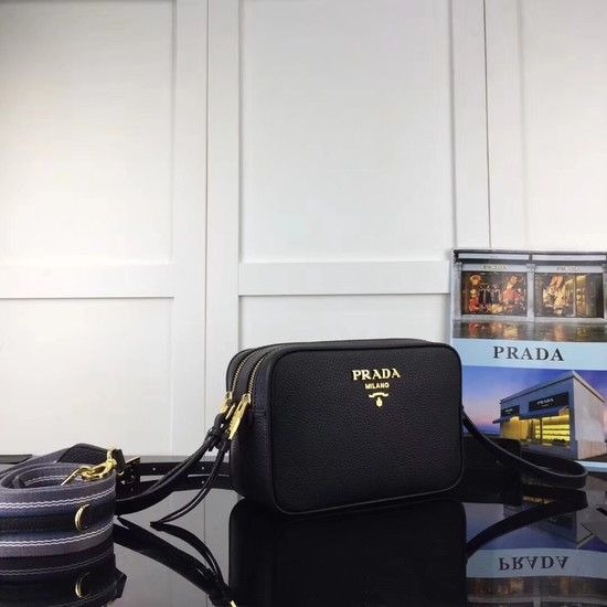 Prada Calf leather Shoulder Bag 1BH082-2B black