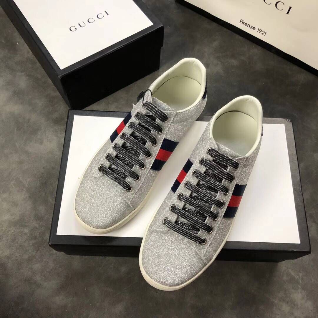 Gucci mens Shoes GG1138 Silver