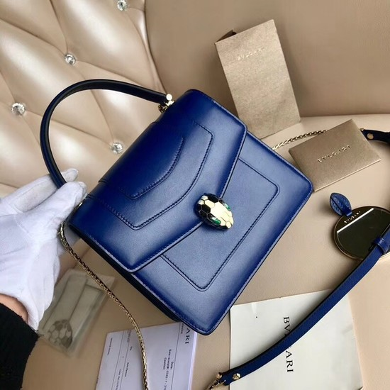 BVLGARI Serpenti Forever leather flap bag 3785 blue