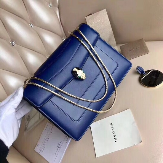 BVLGARI Serpenti leather shoulder bag 14632 blue