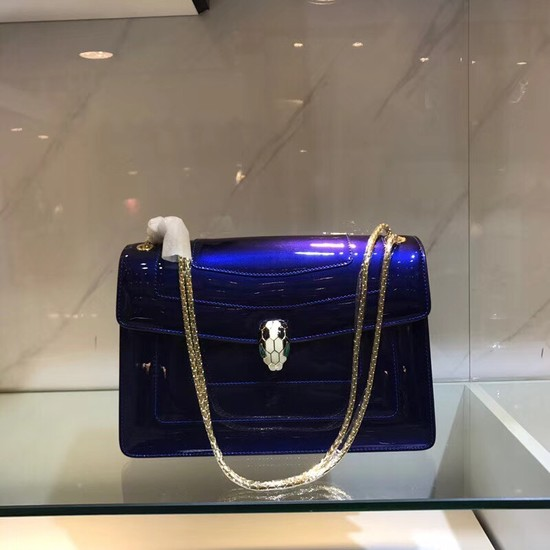 Bulgari metallic-leather shoulder bag 15004 blue