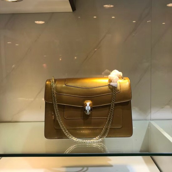 Bulgari metallic-leather shoulder bag 15004 gold