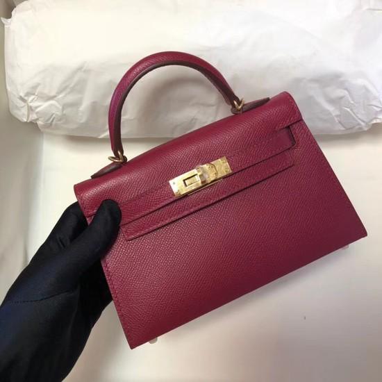 Hermes Kelly 20cm Tote Bag Original Epsom Leather KL20 fuchsia