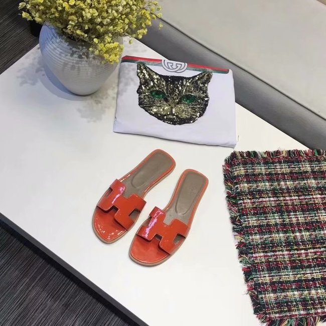 Hermes lady leather fashion Slipper HO808HMJ orange