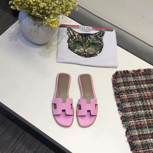 Hermes lady leather fashion Slipper HO808HMJ rose