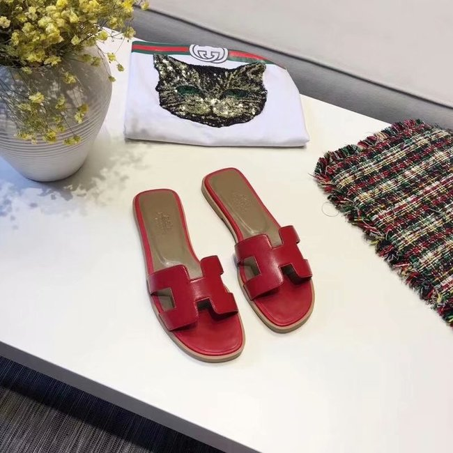Hermes lady leather fashion Slipper HO809HMJ red