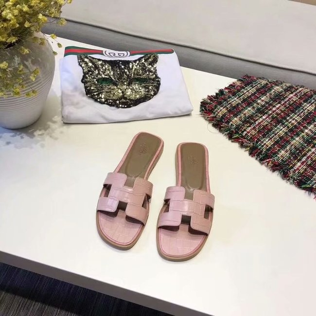 Hermes lady leather fashion Slipper HO811HMJ pink