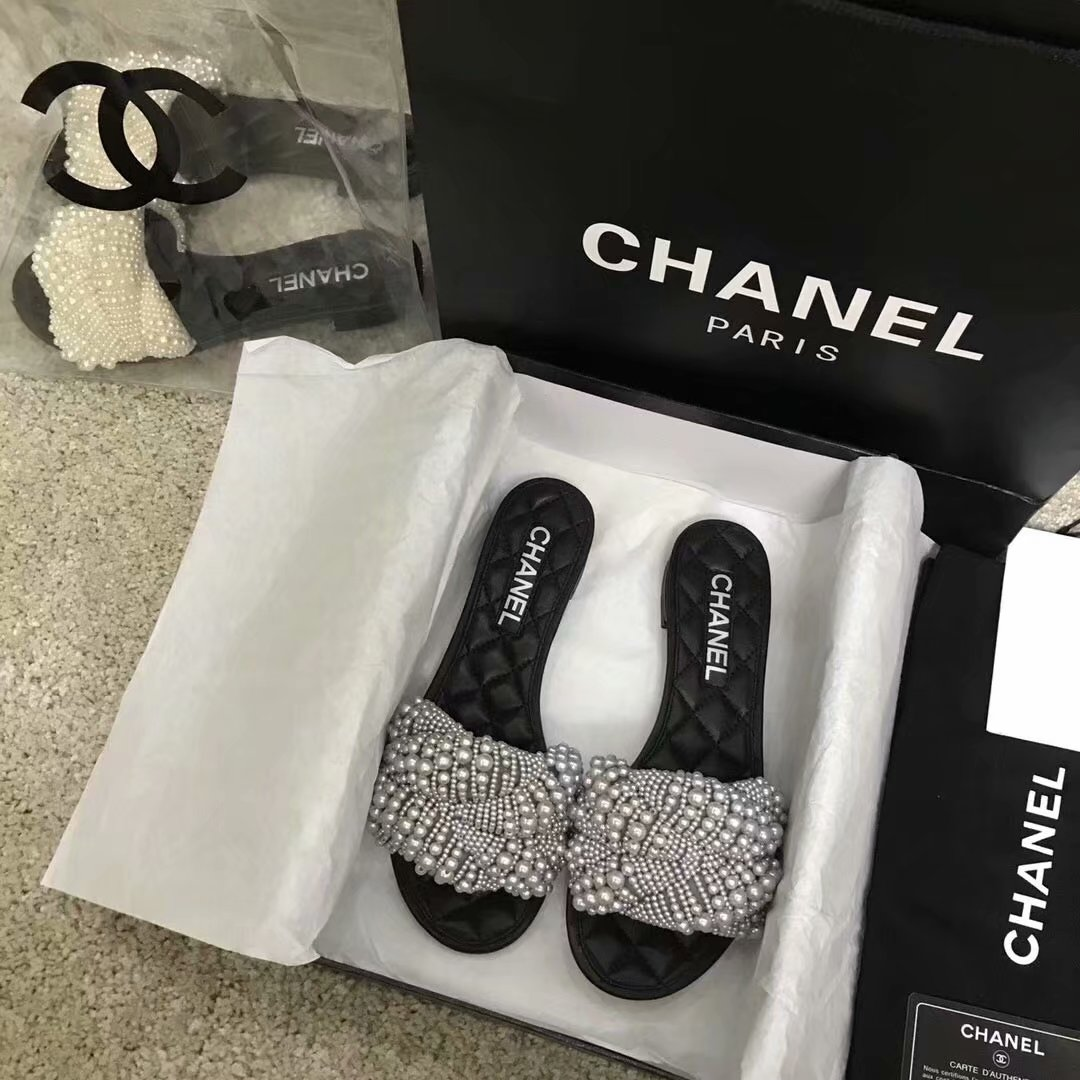 Chanel Slippers Pearl CH2417LS grey